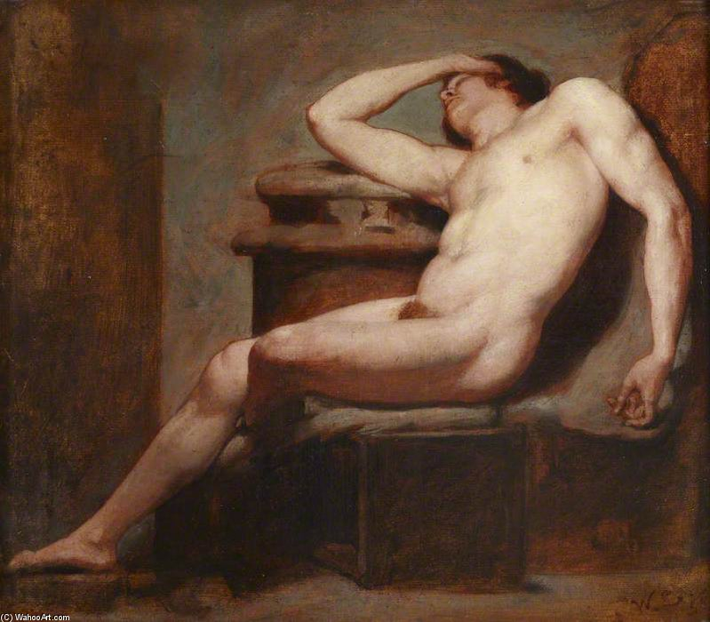 William_Etty_Academic_Study_of_a_reclining_male_nude_asleep